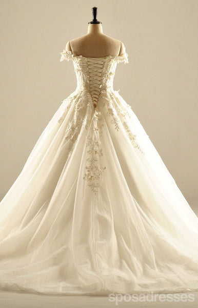Off Shoulder Short Sleeve Lace Wedding Dresses, Custom Made Wedding Dresses, Cheap Wedding Bridal Gowns, WD224