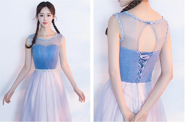 Mismatched Affordable Blue and Pink Soft Tulle Long Bridesmaid Dresses, Cheap Custom Long Bridesmaid Dresses, Affordable Bridesmaid Gowns, BD016