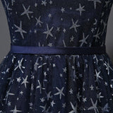 Scoop Navy Star Sequin Cheap Long Evening Prom Dresses, Cheap Custom Sweet 16 Dresses, 18536