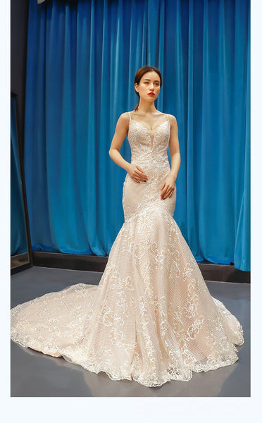 Spaghetti Straps V Neck Lace Mermaid Wedding Dresses, Cheap Wedding Gown, WD718