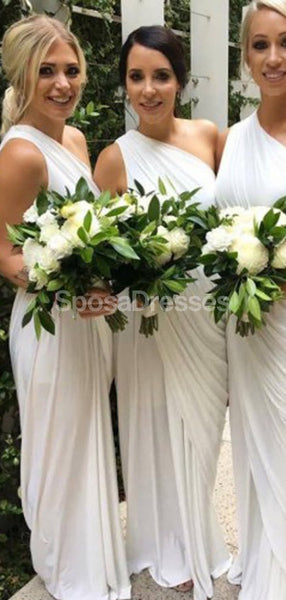 One Shoulder Off White Long Bridesmaid Dresses Online, Cheap Bridesmaids Dresses, WG708