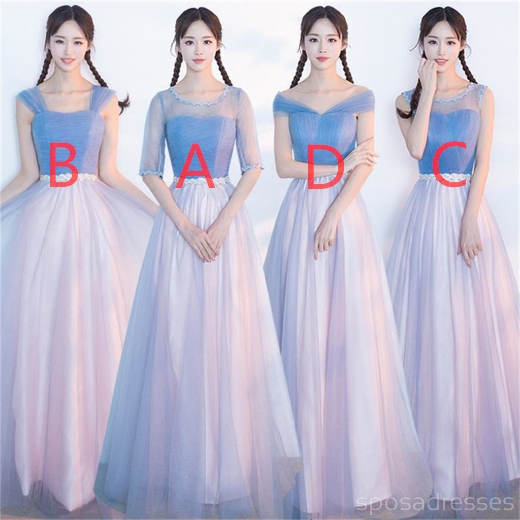 Mismatched affordable blue and pink soft tulle long bridesmaid mismatched affordable blue and pink soft tulle long bridesmaid dresses cheap custom long bridesmaid dresses ombrellifo Images