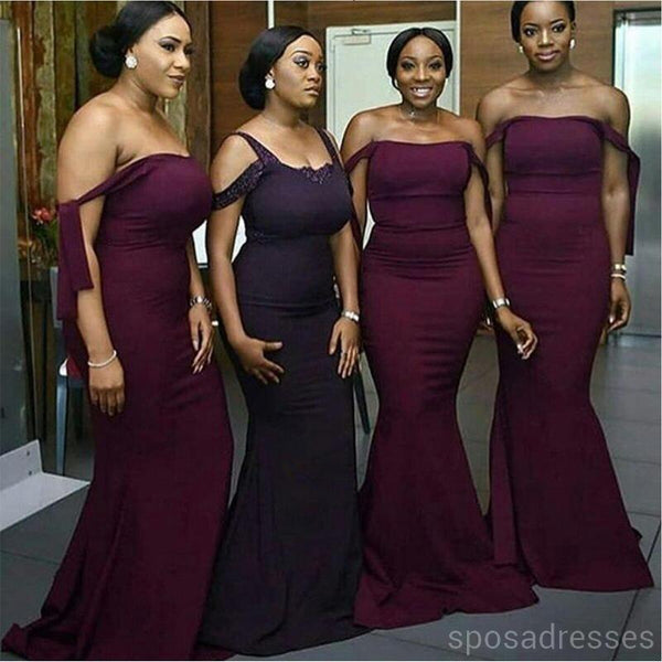 Grape Sexy Floor Length Simple Mermaid Cheap Bridesmaid Dresses Online, WG526