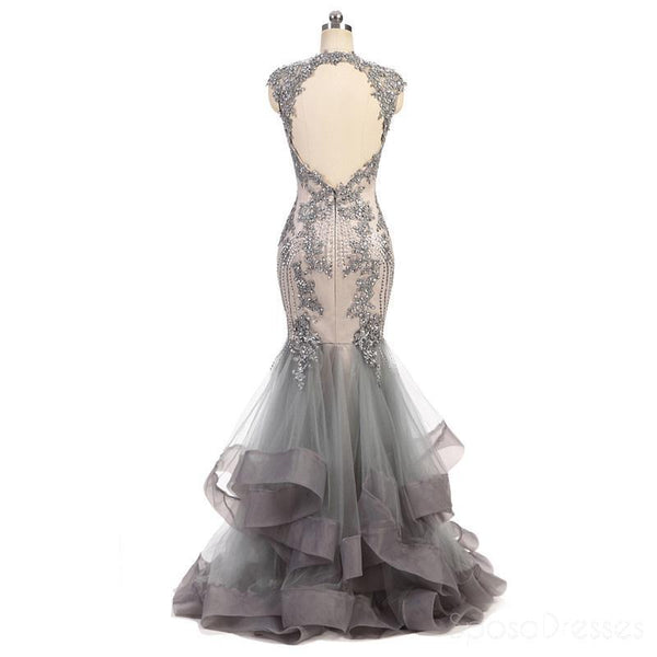 Cap Sleeves Lace Beaded Grey Mermaid Long Evening Prom Dresses, Cheap Sweet 16 Dresses, 18363