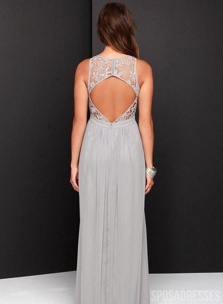 Halter Open Back Silver Chiffon Bridesmaid Dresses Online, WG786