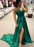 Simple Spaghetti Straps Side Slit Long Evening Prom Dresses, Cheap Custom Sweet 16 Dresses, 18540
