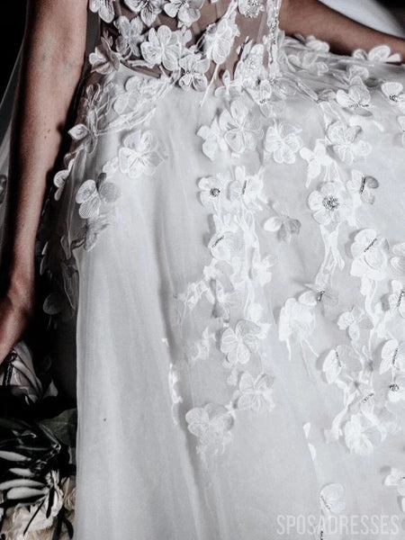 Sweetheart Cute Flower See Through Cheap Wedding Dresses Online, Cheap Wedding Gown, WD669