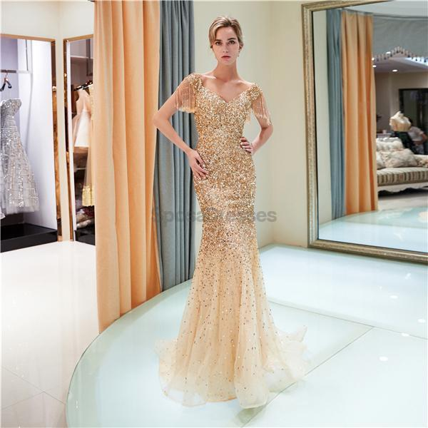 Off Shoulder Mermaid Gold Beaded Evening Prom Dresses, Evening Party Prom Dresses, 12060