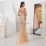 V Neck Rose Gold Heavily Beaded Mermaid Evening Prom Dresses, Evening Party Prom Dresses, 12095