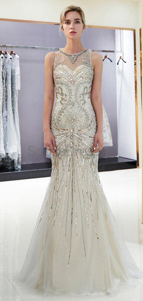 Scoop Sparkly Rhinestone Beaded Mermaid Evening Prom Dresses, Evening Party Prom Dresses, 12033