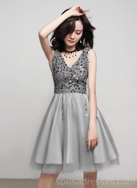 V Neck Grey Sequin Beaded Cheap Homecoming Dresses Online, Cheap Short Prom Dresses, CM763