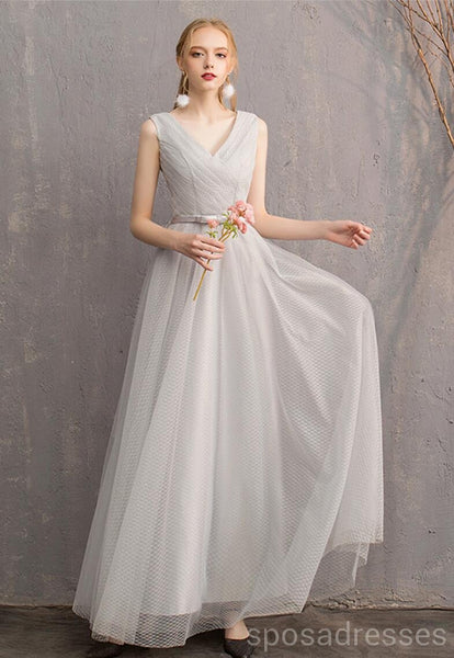 Light Grey Floor Length Mismatched Cheap Bridesmaid Dresses Online, WG545