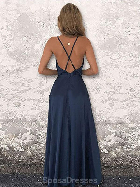 Simple Navy Spaghetti Straps Cheap Long Evening Prom Dresses, Evening Party Prom Dresses, 12348