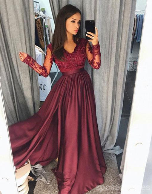 Long Sleeve Lace Dark Red Side Slit A line Long Evening Prom Dresses, Popular Cheap Long Custom Party Prom Dresses, 17336