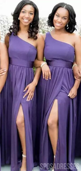 One Shoulder Purple Long Cheap Bridesmaid Dresses Online, WG788