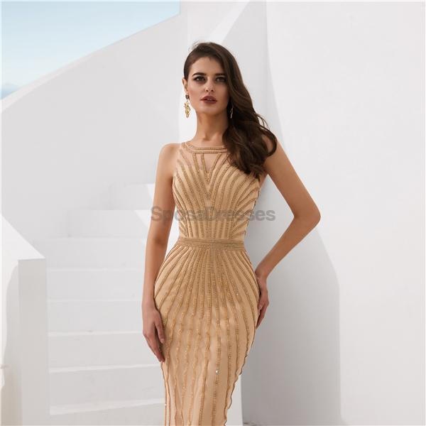 Gold Jewel Heavily Beaded Mermaid Evening Prom Dresses, Evening Party Prom Dresses, 12078
