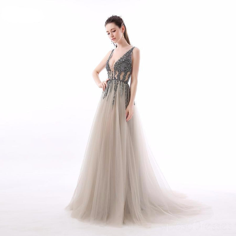 Sexy See Through V Neck Beaded Tulle A line Long Evening Prom Dresses, 17474