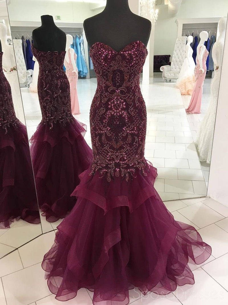 Sweetheart Delicate Beading Purple Mermaid Long Evening Prom Dresses, 17374
