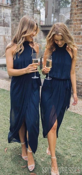 Halter Navy Chiffon Short Bridesmaid Dresses Online, Cheap Bridesmaids Dresses, WG751