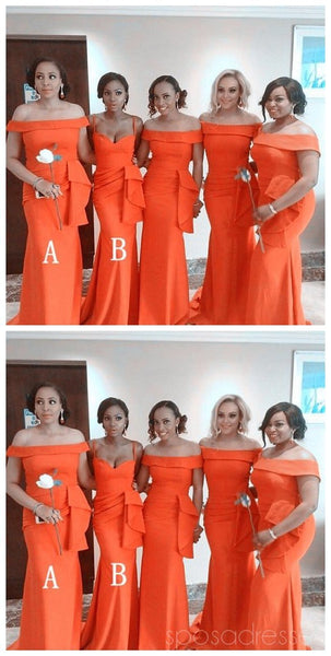 Burnt Orange Mermaid Mismatched Simple Cheap Bridesmaid Dresses Online, WG523