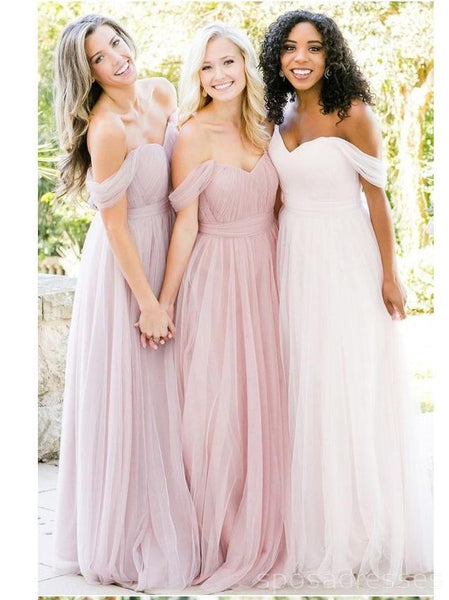 Off Shoulder Tulle A-line Custom Long Bridesmaid Dresses, WG234