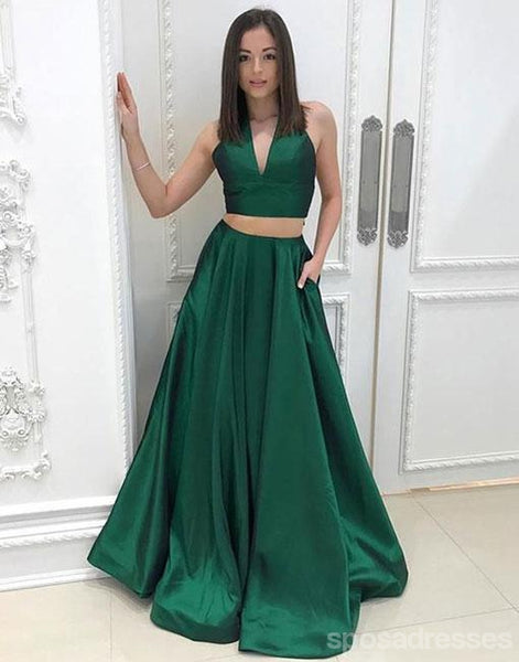 Simple Sexy Two Pieces Halter V Neckline Green A line Long Evening Prom Dresses, Popular Cheap Long Custom Party Prom Dresses, 17339