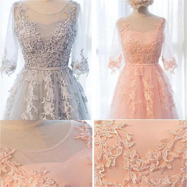 Long Sleeve Gray Lace Soft Tulle Long Bridesmaid Dresses, Cheap Custom Long Bridesmaid Dresses, Affordable Bridesmaid Gowns, BD017