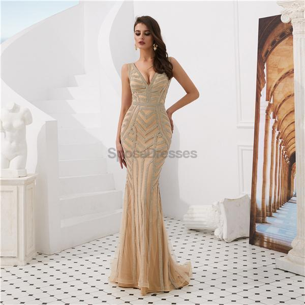 V Neck Beaded Mermaid Sexy Evening Prom Dresses, Evening Party Prom Dresses, 12085