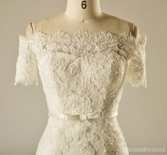 Short Sleeve Empire Waist Lace Beaded Wedding Dresses, Custom Made Wedding Dresses, Cheap Wedding Bridal Gowns, WD227