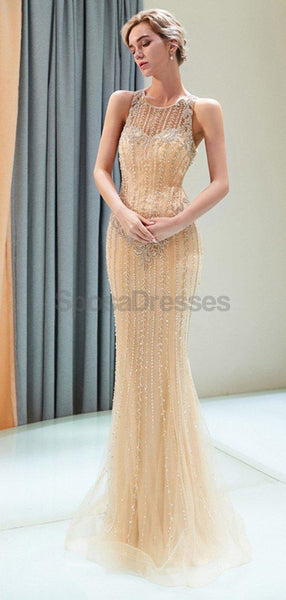 Scoop Heavily Beaded Rhinestone Beaded Mermaid Evening Prom Dresses, Evening Party Prom Dresses, 12043