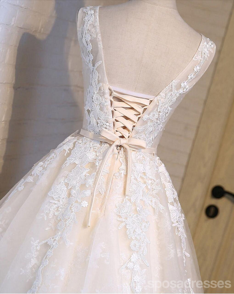Scoop Neckline Short Ivory Lace Cute Homecoming Prom Dresses, Affordable Short Party Prom Dresses, Perfect Homecoming Dresses, CM301