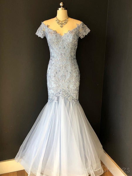 Pale Blue Off The Shoulder Short Sleeve Lace Tulle Floor Length Custom Long Evening Prom Dresses, 17375