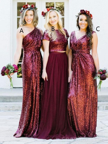 Dark Red Sequin Mismatched Custom Long Bridesmaid Dresses, WG235
