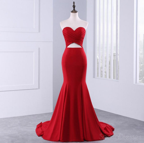 Sweetheart Sexy Red Mermaid Evening Prom Dresses, Popular Unique Party Prom Dress, Custom Long Prom Dresses, Cheap Formal Prom Dresses, 17169