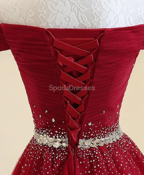 Off Shoulder Rhinestone Beaded Red Long Evening Prom Dresses, Evening Party Prom Dresses, 12317