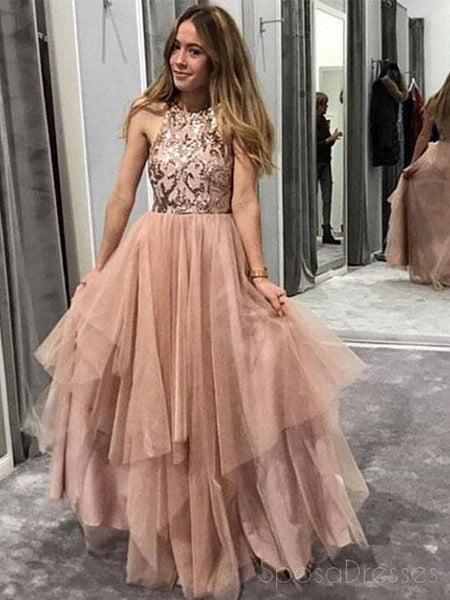 Glittery Sequin Halter A-line Tulle Cheap Long Evening Prom Dresses, Cheap Sweet 16 Dresses, 18365