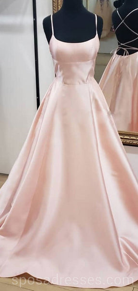 Simple Blush Pink Cheap Long Evening Prom Dresses, Cheap Custom Party Prom Dresses, 18603