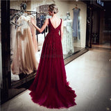 V Neck Dark Red Beaded A-line Evening Prom Dresses, Evening Party Prom Dresses, 12061