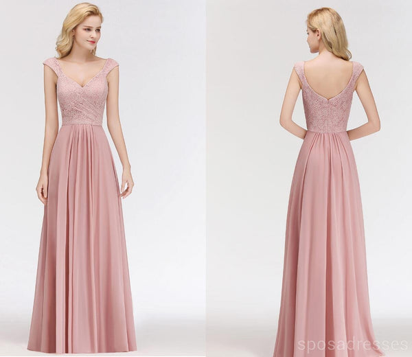 Lace Blush Pink Floor Length Mismatched Chiffon Bridesmaid Dresses Online, WG543