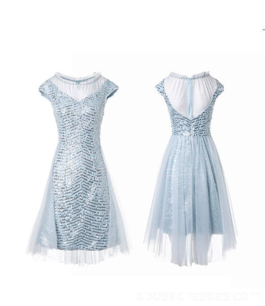 Tiffany Blue Sequin Cap-Sleeves Cheap Homecoming Dresses Online, Cheap Short Prom Dresses, CM765