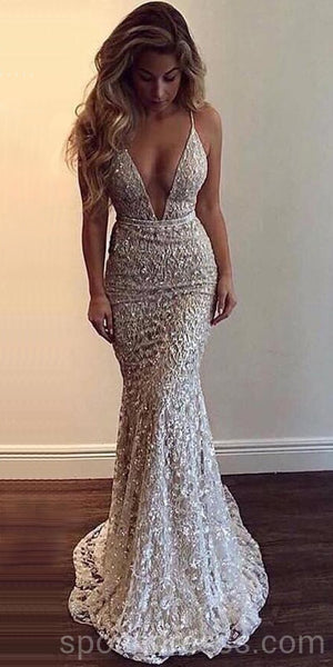 Sexy Backless Lace Beaded Mermaid Long Evening Prom Dresses, Cheap Custom Sweet 16 Dresses, 18566