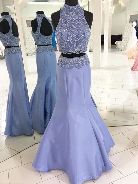 Sexy Open Back Two Pieces Lilac Halter Beading Custom Long Evening Prom Dresses, 17376