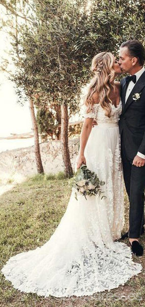 Off Shouder Short Sleeves Mermaid Cheap Wedding Dresses Online, Cheap Lace Bridal Dresses, WD439