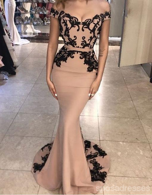 Sexy Off Shoulder Black Lace Mermaid Long Evening Prom Dresses, Popular Cheap Long Custom Party Prom Dresses, 17338