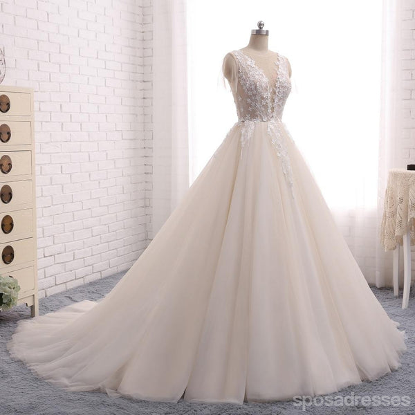 Sexy Backless Deep V Neckline Lace Wedding Bridal Dresses, Custom Made Wedding Dresses, Affordable Wedding Bridal Gowns, WD243