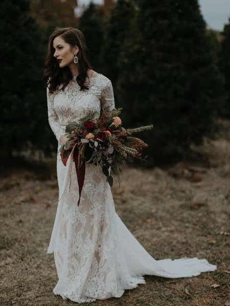 Sexy Backless Long Sleeves Mermaid Cheap Wedding Dresses Online, Cheap Bridal Dresses, WD486