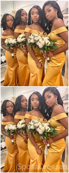 Off Shoulder Yellow Side Slit Mermaid Cheap Long Cheap Bridesmaid Dresses Online, WG667