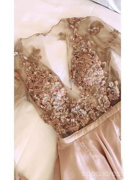 Long Sleeves Sparkly Chiffon Long Evening Prom Dresses, Cheap Custom Party Prom Dresses, 18570