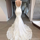 Spaghetti Straps Lace Mermaid Cheap Wedding Dresses, Mermaid Wedding Gown, WD700