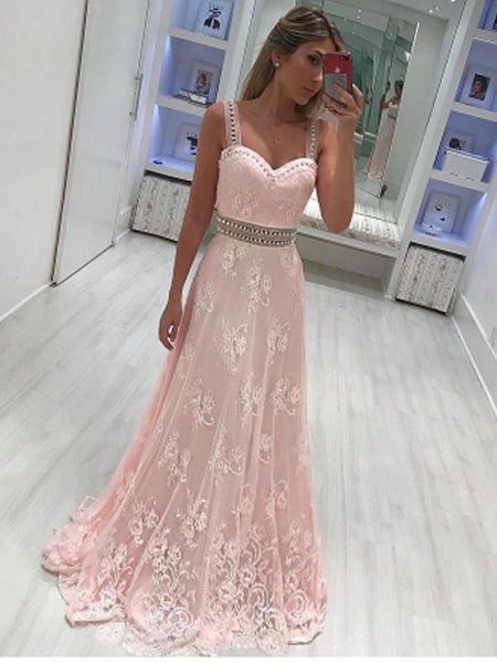 Lace Straps Light Pink Lace Rhinestone Long Evening Prom Dresses, 17510
